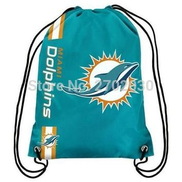 Miami Dolphins Drawstring Bags Men Sports Backpack Digital Printing Pouch Customize Bags 35*45cm Sports National Fottball Team