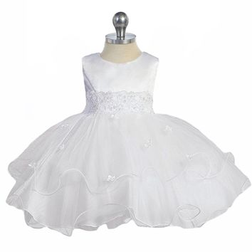 White Lace Trim Baby Girls Formal Dress w. Tiered Lettuce Trim Tulle Skirt 0-24M