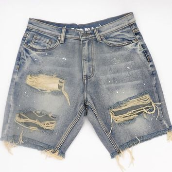 2018 men women fashion denim short jeans hip hop kanye west fear of god streetwear fortunate justin bieber summer casual shorts