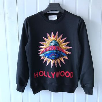 Gucci UFO Embroidered Sequins Sweater Sweatshirts