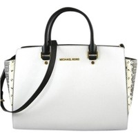 Michael Kors Selma White/Black/Python Bag - Satchel