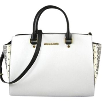 300756b2bd Michael Kors Selma White Black Python Bag from Tradesy