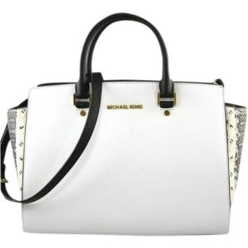 37fd98dbb134 Michael Kors Selma White Black Python Bag from Tradesy