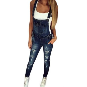 VONG2W 2017 Autumn Pants Jumpsuits Women Overalls Jeans Jumpsuit Office Casual Hole Denim Jumpsuits Pencil Long Pant Femme