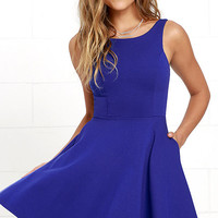 Wanderlust Royal Blue Skater Dress