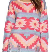 Geometric Knit Fall Fashion Sweater