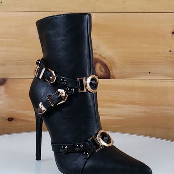 "Mac J Black Pointy Toe Gold Buckle Harness Strap Ankle Boot - 5"" High Heel"