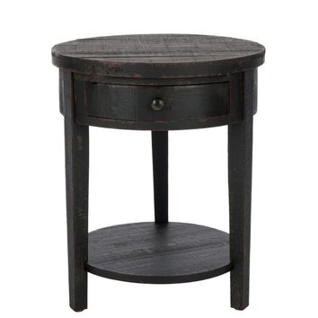 Doris Round End Table With Storage Drawer Distressed Black
