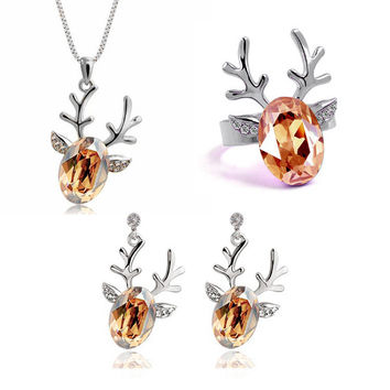 austrian crystal the lucky deer ladies jewelry fashion jewellery sets for ireland christmas gifts