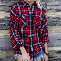 Crown Peak Classic Red Plaid Flannel With Roll Up Sleeves & Front Pockets