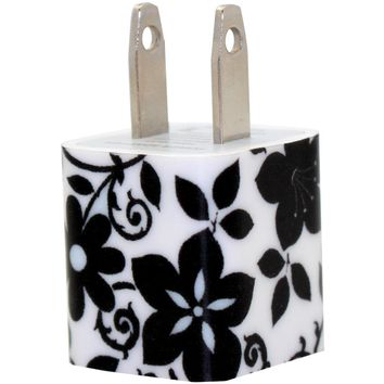 Black Flower Phone Charger