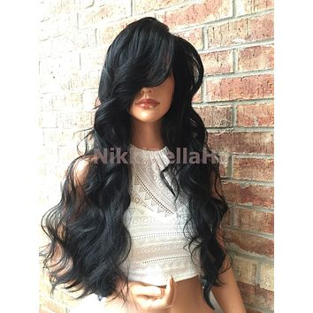 """Flint Black Body Curly Front Swiss Human Hair Blend Multi Parting Lace Front Wig 26"""""""
