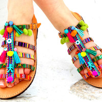 "Colorful Sandals, Hellenic Sandals, ""Sapfw"" Ancient Greek Sandal, barefoot, hippie leather shoes, Summer shoes Valentine's gift"