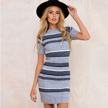 Grey Striped Pattern Short Sleeve Knitted Mini Dress