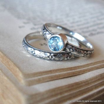 Promise Stacking Ring in Sterling Silver Blue Topaz Gemstone Commitment