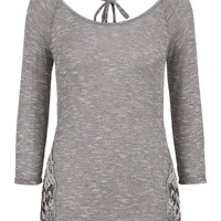 Crochet Side Knit Top - Gray