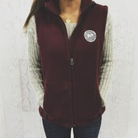 Women's Burgundy Fleece Vest