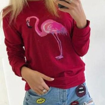 Red Flamingo Print Round Neck Long Sleeve Fleece Sweatshirt