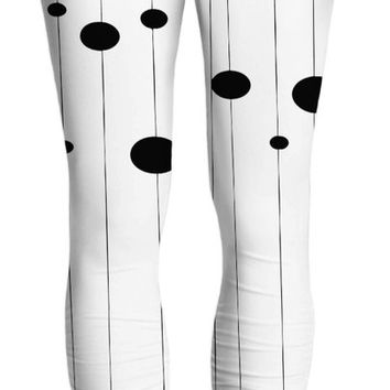 Bubbles on strings yoga pants, stylish black and white pattern