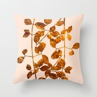 fall golden leaves Throw Pillow by Clemm