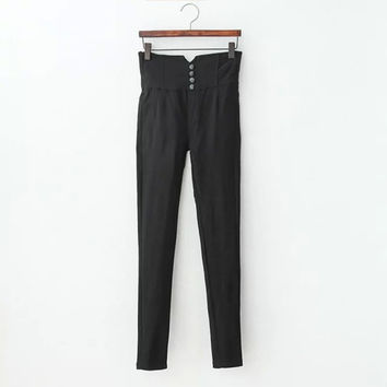Black High-Waisted Button Skinny Pants