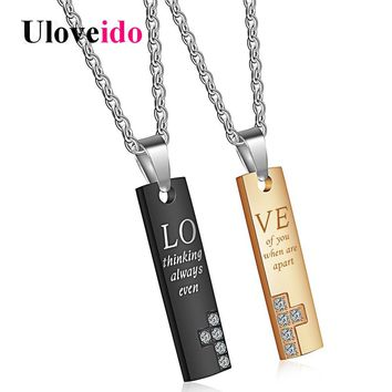 Uloveido Love Letter Titanium Necklaces & Pendants Rectangle Puzzle Couple Necklace Paired Pendant Valentines Day Gift SN036