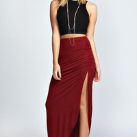 Tamsin Rouched Side Jersey Maxi Skirt