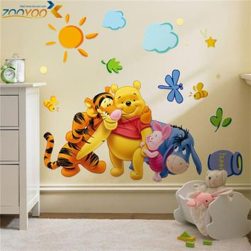 Cartoon Winnie the Pooh Wall Stickers For Kids Rooms Sofa Bedroom Home Decor Baby Bear PVC Wall Decals DIY Wallpaper Mural Art