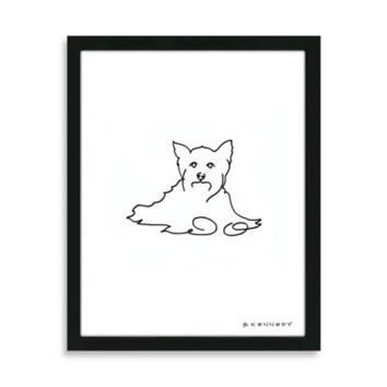 Yorkie Framed Line Drawing