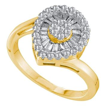14kt Yellow Gold Women's Round Diamond Teardrop Frame Flower Cluster Ring 3/4 Cttw - FREE Shipping (US/CAN)