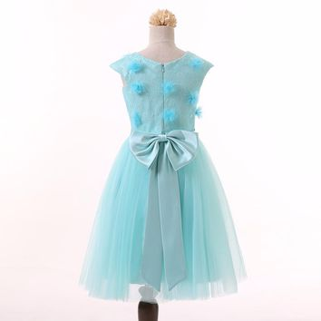 Pretty Baby Children kids Lace Tulle Ball Gown Flower Girl Dresses for Weddings Evening Party Holy Communion Dresses