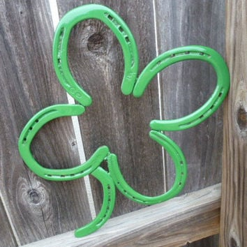 Horseshoe Four-leaf clover, lucky, St. Patrick's Day, green, home and garden decor, repurpose, upcycle
