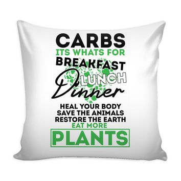 Vegetarian Vegan Graphic Pillow Cover Eat More Plants