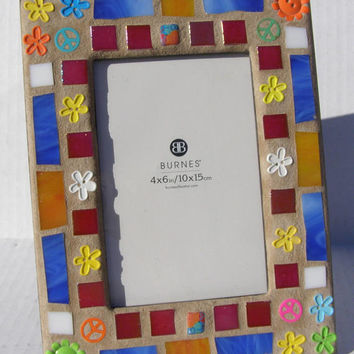 Rainbow Colors Peace Sign 4 x 6 Photo Frame Mosaic Picture Frame Teenage Decor Flower Power Dorm Art