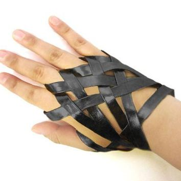 black faux leather goth hand bracelet ring glove