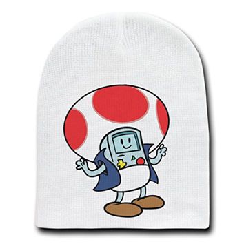 'Plumbing Time' Mushroom Robot Console Video Game Parody - White Adult Beanie Skull Cap Hat