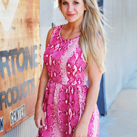 Pink Python Sleeveless Dress