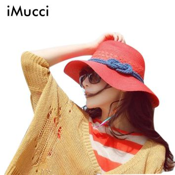 iMucci 2017 Hot Summer Hats For Women Wid Brim Straw Hat Beige Beach Hat Red Sun Cap Chapeu Feminino Hemp Rope Sunhat B