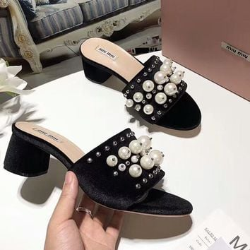 MIUMIU 2018 counter new pearl small eyes slippers sandals F-OMDP-GD black