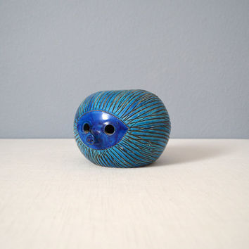 Mid Century Bitossi Blue Hedgehog Bank