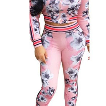 FISACE Women's Long Sleeve Zip Up Floral Sweatsuit Sweatpant Set
