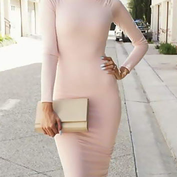 Light Pink Long Sleeve Midi Slim Dress