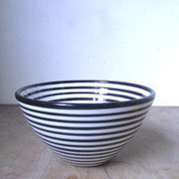 Neudorf Pottery - Medium Black Thin Stripe Bowl — Little Sabine Design Store