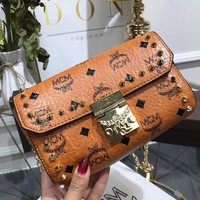 """MCM"" Fashion Personality Rivet Single Shoulder Messenger Bag Women Chain Flip Small Square Bag"