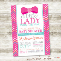 "Little Lady Bows and Chevrons Baby Shower Printable Invitation, 5"" x 7"""