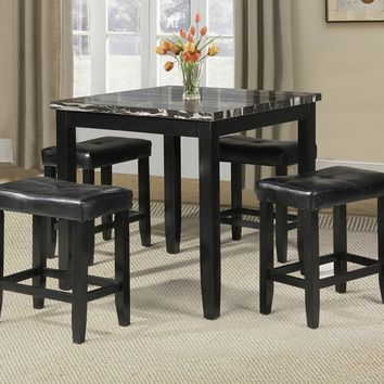 5 pc Ainsley II square faux marble black finish wood counter height dining table set