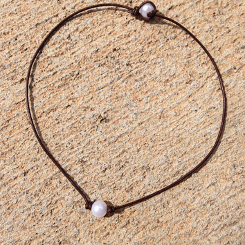 Leather Pearl Necklace