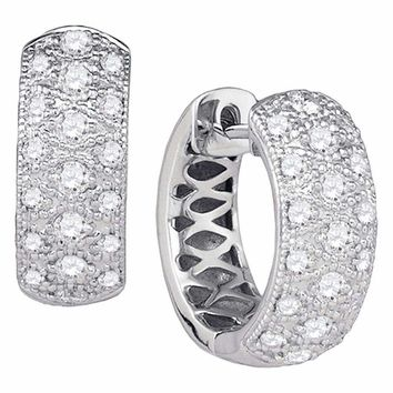 14kt White Gold Women's Round Diamond Huggie Earrings 7-8 Cttw - FREE Shipping (USA/CAN)