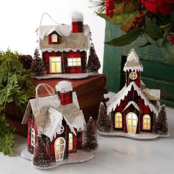Lighted Red and Black Plaid House Ornament