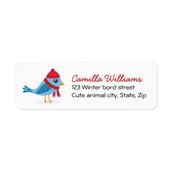 Cute winter bird with hat and scarf, Christmas Label